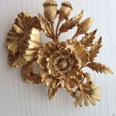 1960's  Poppy Brooch signed by Exquisite - unusual goldtone finish (SOLD)